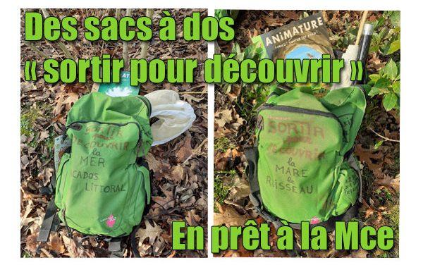 Des sacs à dos « sortir pour découvrir » en prêt à la Mce