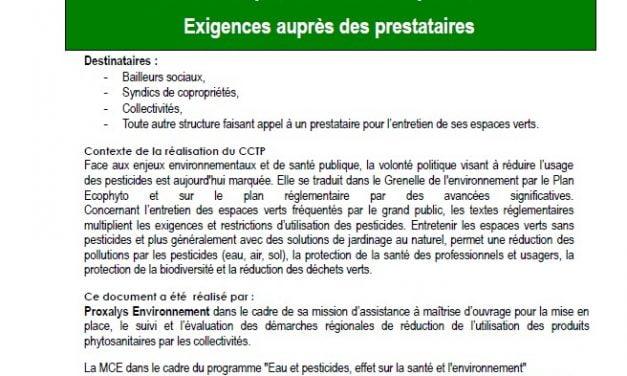 Cahier des clauses techniques particulières (CCTP) : pour un entretien au naturel de vos espaces verts (2020)